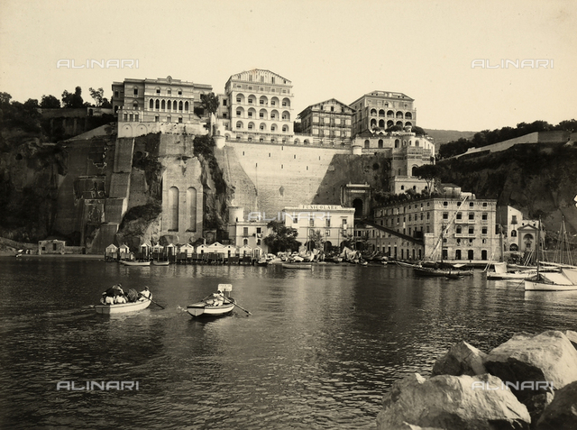 Group of Hotels on the sea with the funicular that connects the bay with Sorrento, near Naples.