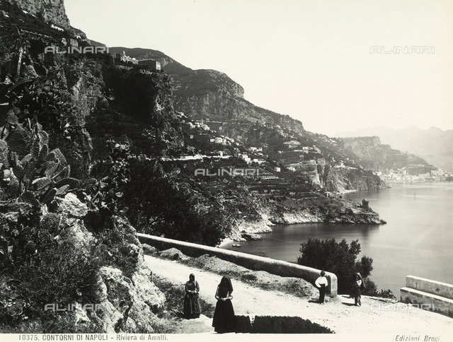 The Amalfi Coast with figures in the foreground.