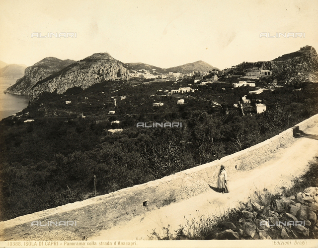 View of the Isle of Capri with the road to Anacapri.