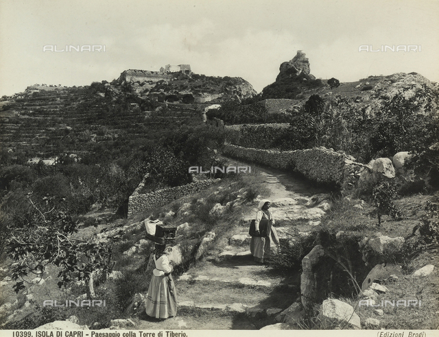 Characteristic view of the Isle of Capri with the Tower of Tiberius in the background.