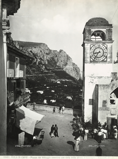 Piazza Umberto I (Umberto I Square) in Capri with a view of the road to Anacapri.