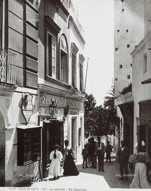View of Via Camarella (Camarella Street) with people in Capri