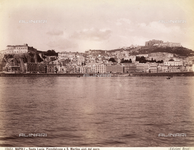The area of S. Lucia in Naples seen from the sea. In the background, the S. Elmo Castle and the Carthusian Monastery of S. Martino, now the National Museum.