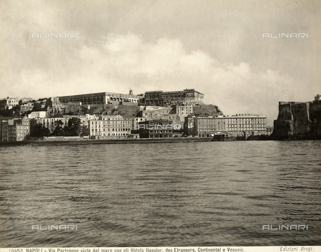 View of Partenope Street in Naples seen from the sea with the Hassler, Des Etrangers, Continental and Vesuvio hotels.