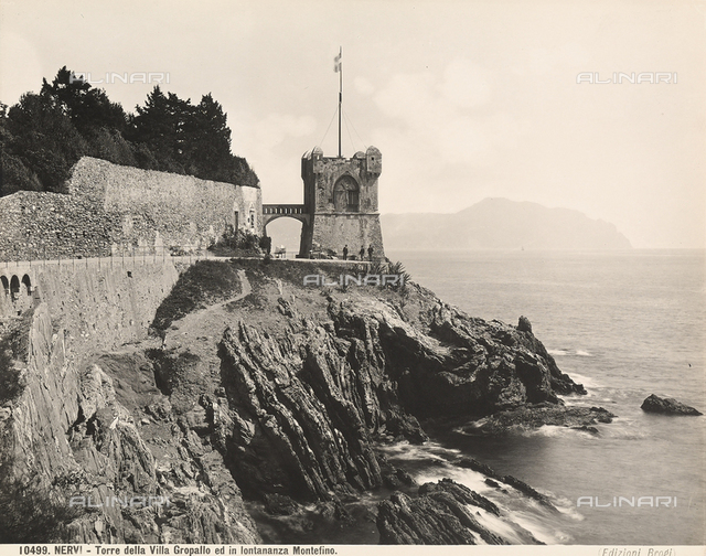 The tower of Villa Serra-Grappolo near the town of Nervi, Genoa