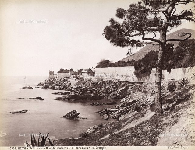 View of the shore with the tower of Villa Serra-Grappolo near the town of Nervi, Genoa