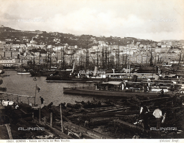 View of Genoa's port, shot from the old pier.