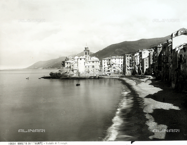 Part of the beach and some homes in Camogli.