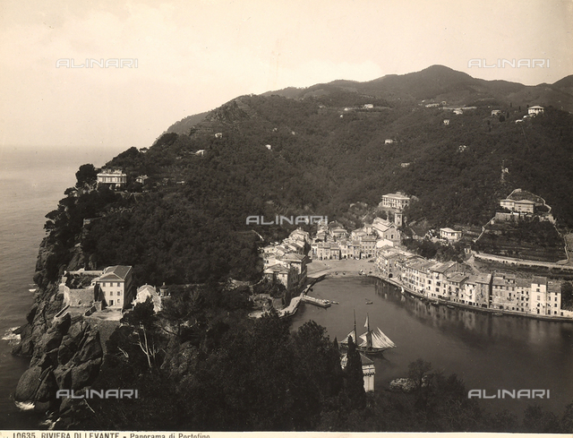 Panoramic view, from above, of Portofino's inlet with docked boats in the harbor.