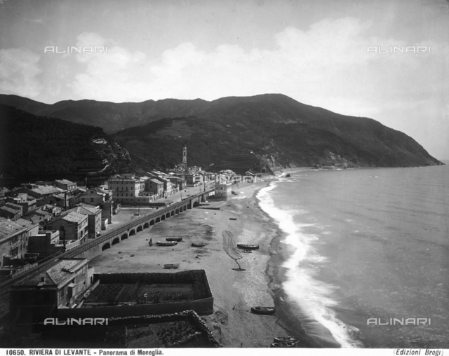 View of Moneglia with part of the beach and the railroad.