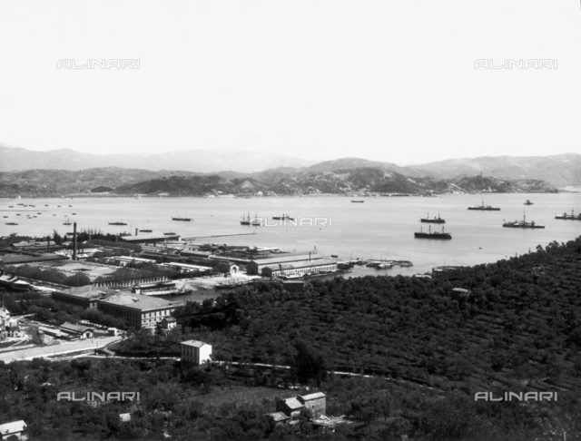 The arsenal and gulf of La Spezia seen from Fabiano