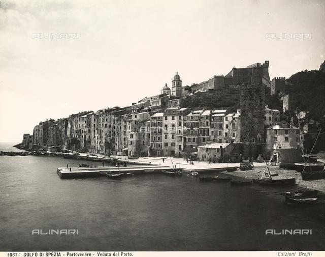 Panoramic view of the port of Portovenere, in the gulf of La Spezia