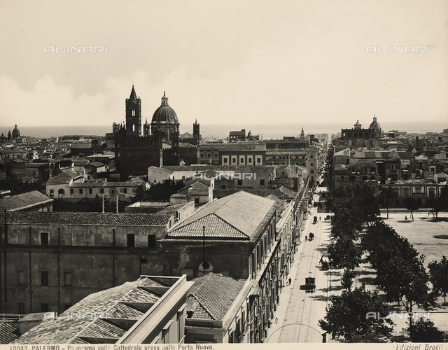 Panoramic view of Palermo, seen from Porta Nuova, with the Cathedral in the background