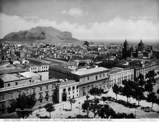 Panoramic view of Palermo and Mount Pellegrino, photographed from the Pisan Tower, now location of the astronomical observatory