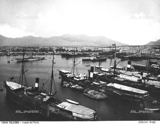 Moored boats in the port of Palermo