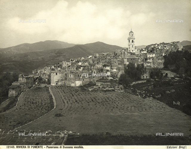 Panorama of Bussana Vecchia, ancient town partially destroyed by the 1887 earthquake. Only the bell tower of the church was saved.