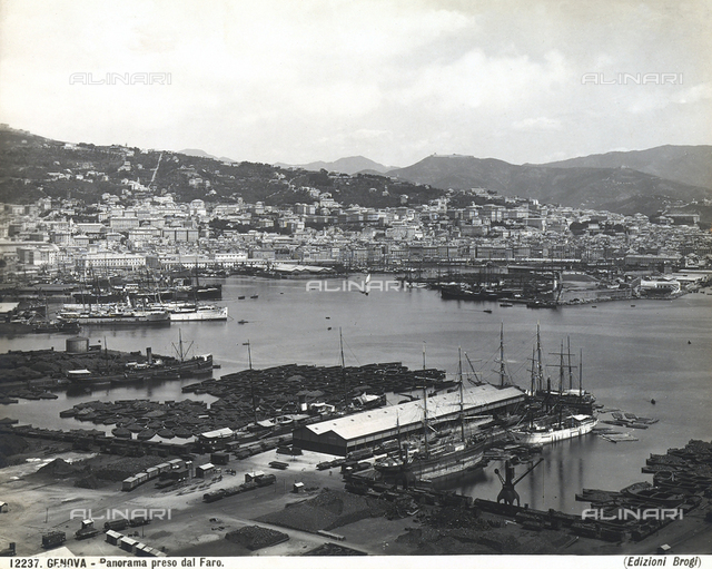 View of Genoa photographed from the lighthouse.