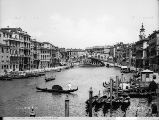 View of the Grand Canal with the Rialto Bridge in Venice.