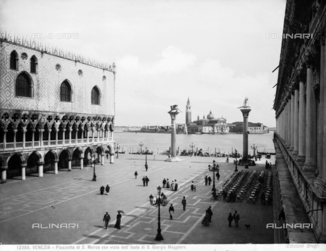 View of St. Mark's Square and the San Giorgio Maggiore Island with the San Maggiore Church, in Venice