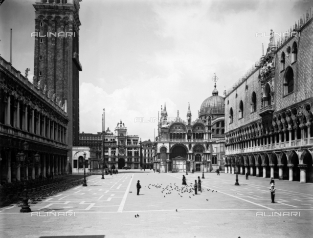 View of St. Mark's Square with the Cathedral, the Doges' Palace, the Marciana Library and the bell tower, in Venice