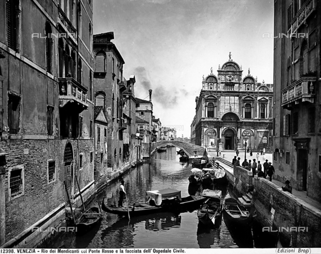 View of Beggar's Canal with the Ponte Rosso and the ex Municipal Hospital, Venice.