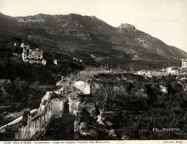 View of the place where the Hospital of the Misericordia, Casamicciola, Island of Ischia, was built.