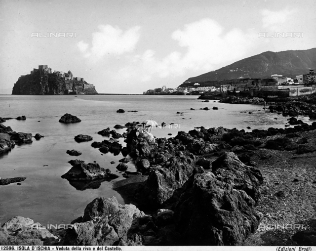 View of the island of Ischia. To the left, one sees the small island occupied by the Ischia Castle.