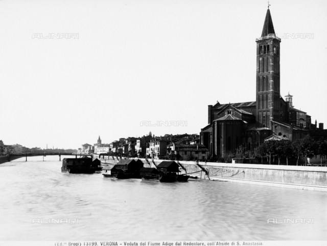 View of the Adige river with the Church of S. Anastasia from the Redeemer, Verona.