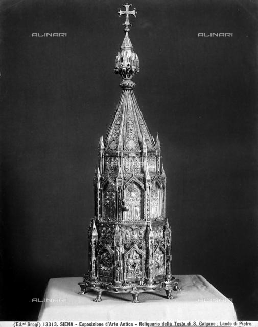 Reliquiario della testa di San Galgano, Lando di Pietro, Sala del Tesoro, Museo dell'Opera Metropolitana, Siena