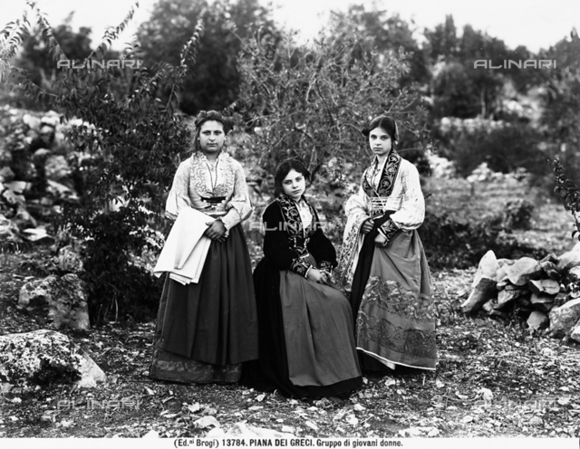 Group of young women in traditional dress photographed at Piana dei Greci, today's Piana degli Albanesi, in the province of Palermo