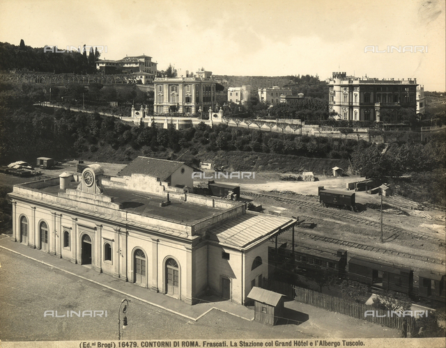 View of the station, the Grand Hotel and the Albergo (Hotel) Tuscolo in Frascati.