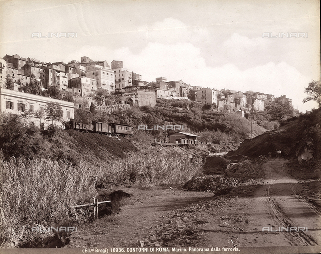 View of Marino on the outskirts of Rome with the railroad.