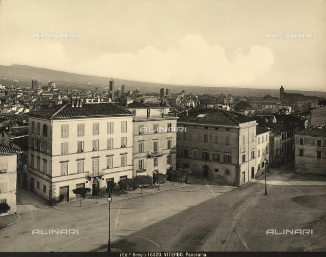 View of a square and panorama of Viterbo