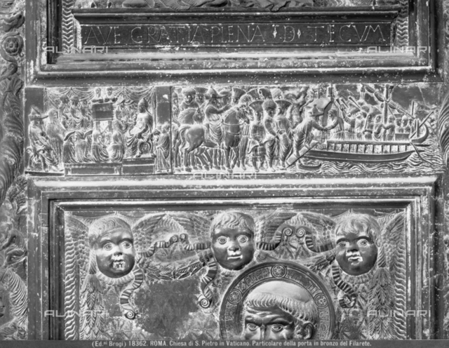 Detail from a bronze Door by Filarete, or Central Door, at St Peter's Cathedral, Rome 'Cardinals in their copes seated at the Ecumenical Council of 1439, on the right the Pope, on the left the Emperor'