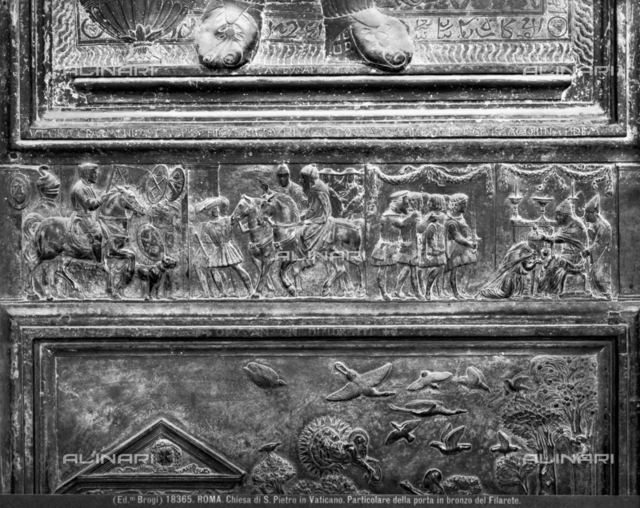 Detail of Filarete Bronze Door, or Central Door, St. Peter's Basilica, Vatican City