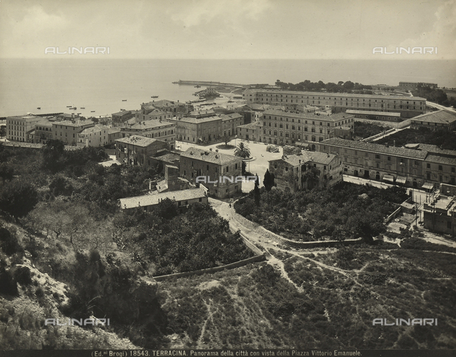 Panoramic view of the city of Terracina with Vittorio Emanuele Square.