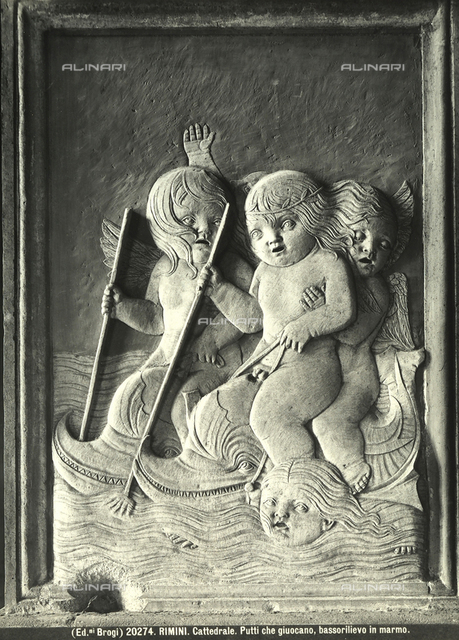 Winged putti playing while riding on dolphins, Chapel of Children's Games, Malatesta Temple, Rimini.