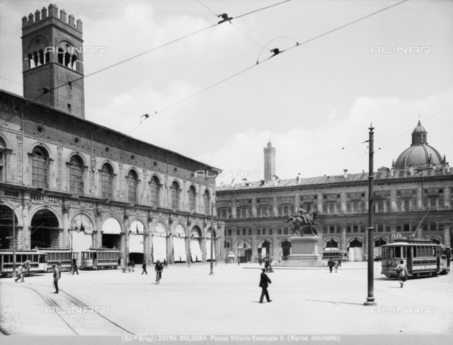 View of Bologna's Piazza Vittorio Emanuele II, with equestrian monument.
