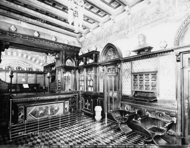 Interior of the old Artero pharmacy in Florence