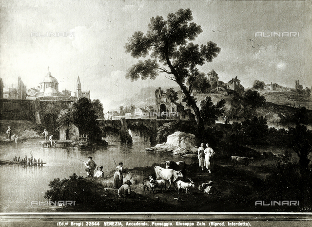 Landscape with river and bridge, Accademia Galleries, Venice