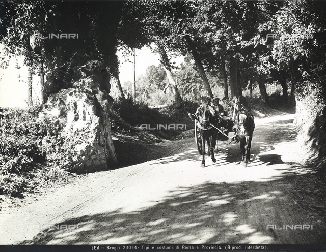 A man leading a cart carried by two horses along a country road in the environs of Rome.
