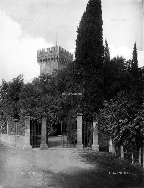 Entrance to the Villa Giulia, with the tower in the background, Torre Giulia estate near San Romano Montopoli, in the municipality of Pisa