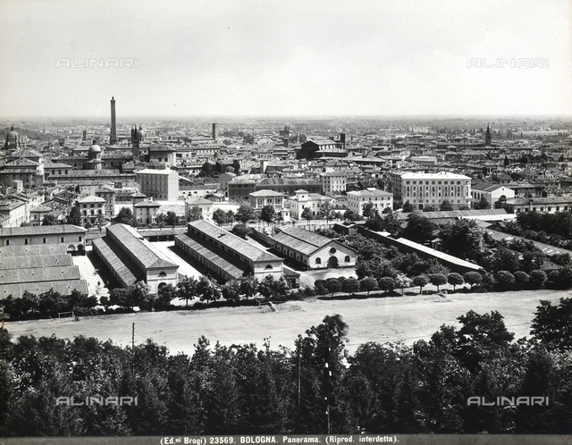 Panoramic view of Bologna with some factories.