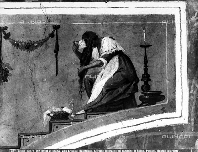 Woman combing her hair, Bernardino Poccetti, bathroom, Villa Ferdinanda, Artimino, Signa.