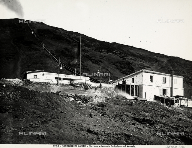 View of the station and the funicular on Mount Vesuvius. Near Naples.
