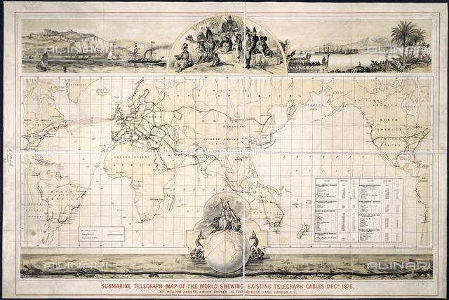"""Submarine telegraph map, from """"Submarine Telegraph Map of the World showing exist of W. Abbott"""" (London, Bates, Hendy & Co., 1876), Maps.957.(14), British Library, London"""
