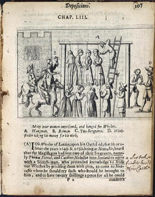 Hanging of witches, from 'Englands grievance discovered in relation ...' of Ralph Gardiner (London, 1655), 523.b.27, 107, British Library, London
