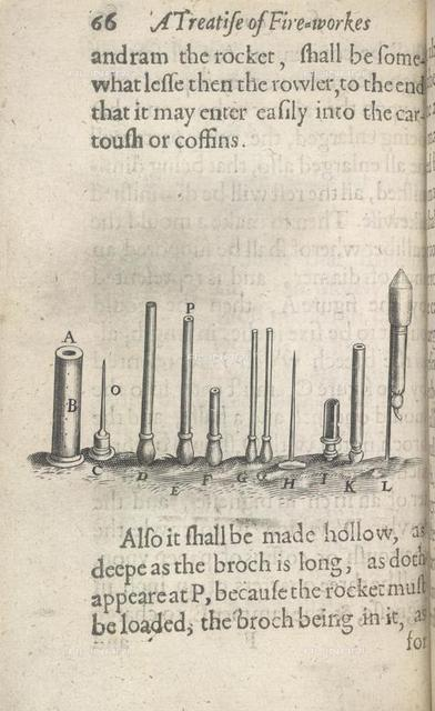 Fireworks, from 'A Treatise of Artificial Fire-Works both for Warre' (R. Hawkins: London, 1629), 787.a.75, 66. F1v, British Library, London