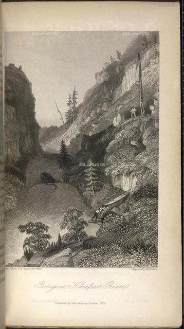Portage in Hoarfrost River, from 'Narrative of the Arctic Land Expedition' by Sir George Back, Captain Back Edward Finden (John Murray: London, 1836), 792.e.4, opposite 116, British Library, London