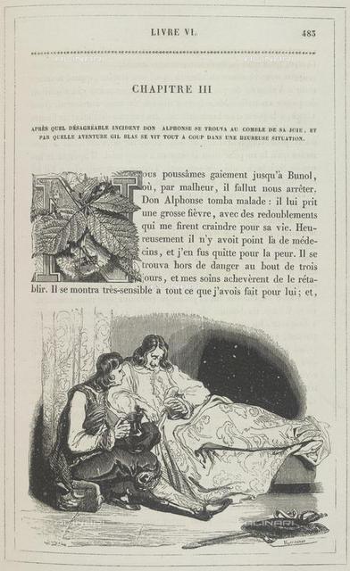 Don Alfonso on his sick-bed, from 'Histoire de Gil Blas ... vignettes par J. Gigoux' (Paris, 1835), G.18301, 483, British Library, London